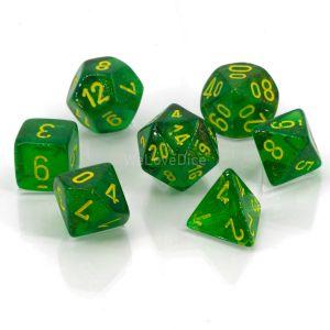 Borealis™ Maple Green w/yellow Polyhedrische Würfel 7er Set