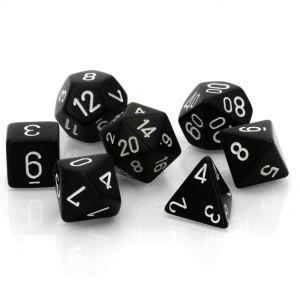 Opaque Black w/white Polyhedrische Würfel 7er Set