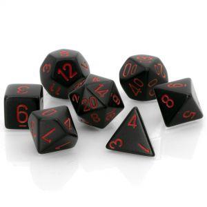 Opaque Black w/red Polyhedrische Würfel 7er Set