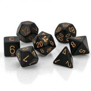 Opaque Black w/gold Polyhedrische Würfel 7er Set