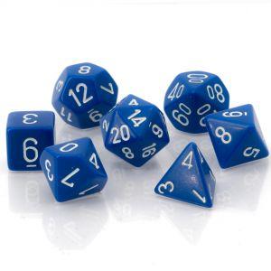 Opaque Blue w/white Polyhedrische Würfel 7er Set