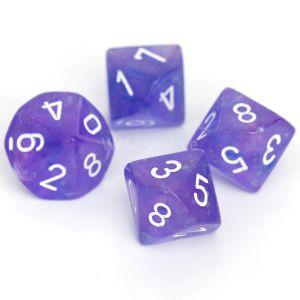Chessex Borealis  Purple / white Set mit 10 W10 Würfeln (10 Stk)