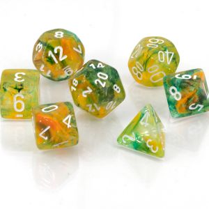 Nebula Polyhedral Spring/white Luminary 7-Die Set