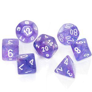 Chessex Borealis  Purple / white Poly Würfel Set (7 Stk)