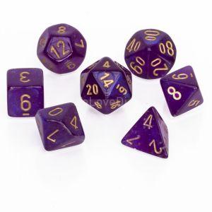 Chessex Borealis Royal Purple / gold Poly Würfel Set (7 Stk)