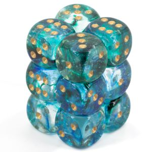 Nebula 16mm d6 Oceanic/gold Luminary Dice Block (12 dice)