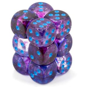 Nebula 16mm d6 Nocturnal/blue Luminary Dice Block (12 dice)