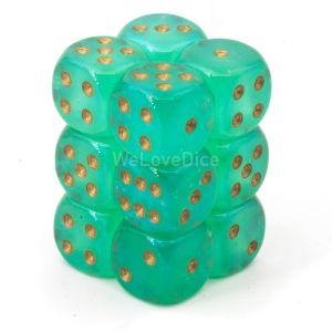 Chessex Borealis  Light Green / gold 16mm W6 Würfel Block (12 Stk)