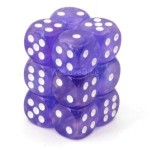 Chessex Borealis  Purple / white 16mm W6 Würfel Block (12 Stk)