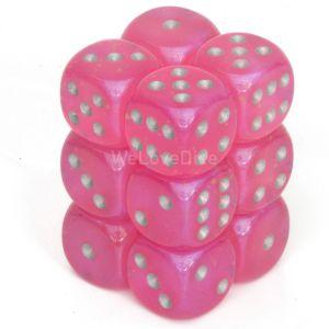 Chessex Borealis Pink / silver 16mm W6 Würfel Block (12 Stk)