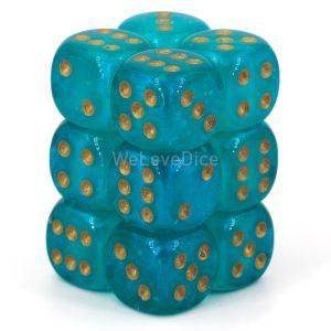 Chessex Borealis Teal / gold 16mm W6 Würfel Block (12 Stk)