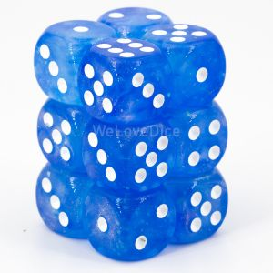 Chessex Borealis Sky Blue / white 16mm W6 Würfel Block (12 Stk)