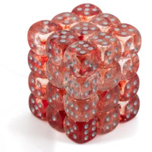 Nebula 12mm d6 Red/silver Luminary Dice Block (36 dice)
