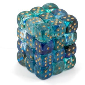 Nebula 12mm d6 Oceanic/gold Luminary Dice Block (36 dice)
