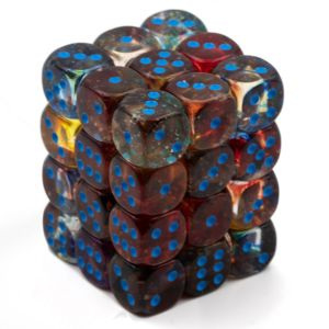 Nebula 12mm d6 Primary/turquoise Luminary Dice Block (36 dice)