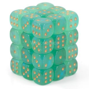 Chessex Borealis  Light Green / gold 12mm W6 Würfel Block (36 Stk)
