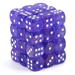 Chessex Borealis  Purple / white 12mm W6 Würfel Block (36 Stk)