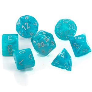 Cirrus™ Aqua w/silver Polyhedrische Würfel 7er Set
