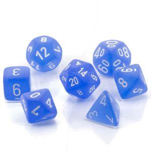 Frosted™ Blue w/white Polyhedrische Würfel 7er Set
