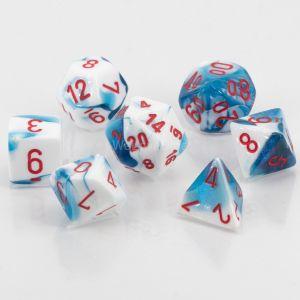 Gemini™ Astral Blue-White w/red Polyhedrische Würfel 7er Set