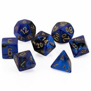 Gemini™ Black-blue w/gold Polyhedrische Würfel 7er Set