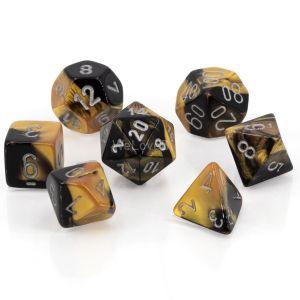 Gemini™ Black-Gold w/silver Polyhedrische Würfel 7er Set