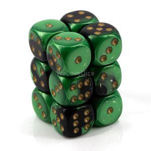 Gemini™ Black-Green w/gold 16mm W6 12Stk