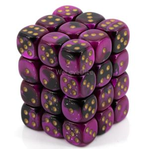 Gemini™ Black-Purple w/gold 12mm W6 36 Stk