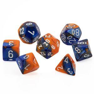 Gemini™ Blue-Orange w/white Polyhedrische Würfel 7er Set