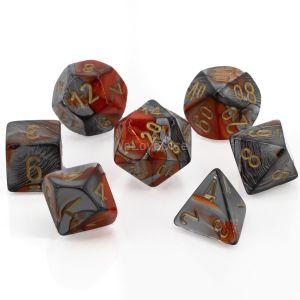 Gemini™ Orange-Steel w/gold Polyhedrische Würfel 7er Set