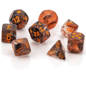Nebula® Polyhedral Copper Matrix/orange Luminary 8-Würfel Set