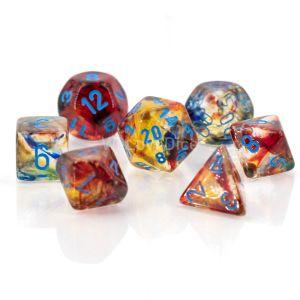 Nebula Polyhedral Primary/turquoise Luminary 7-Die Set